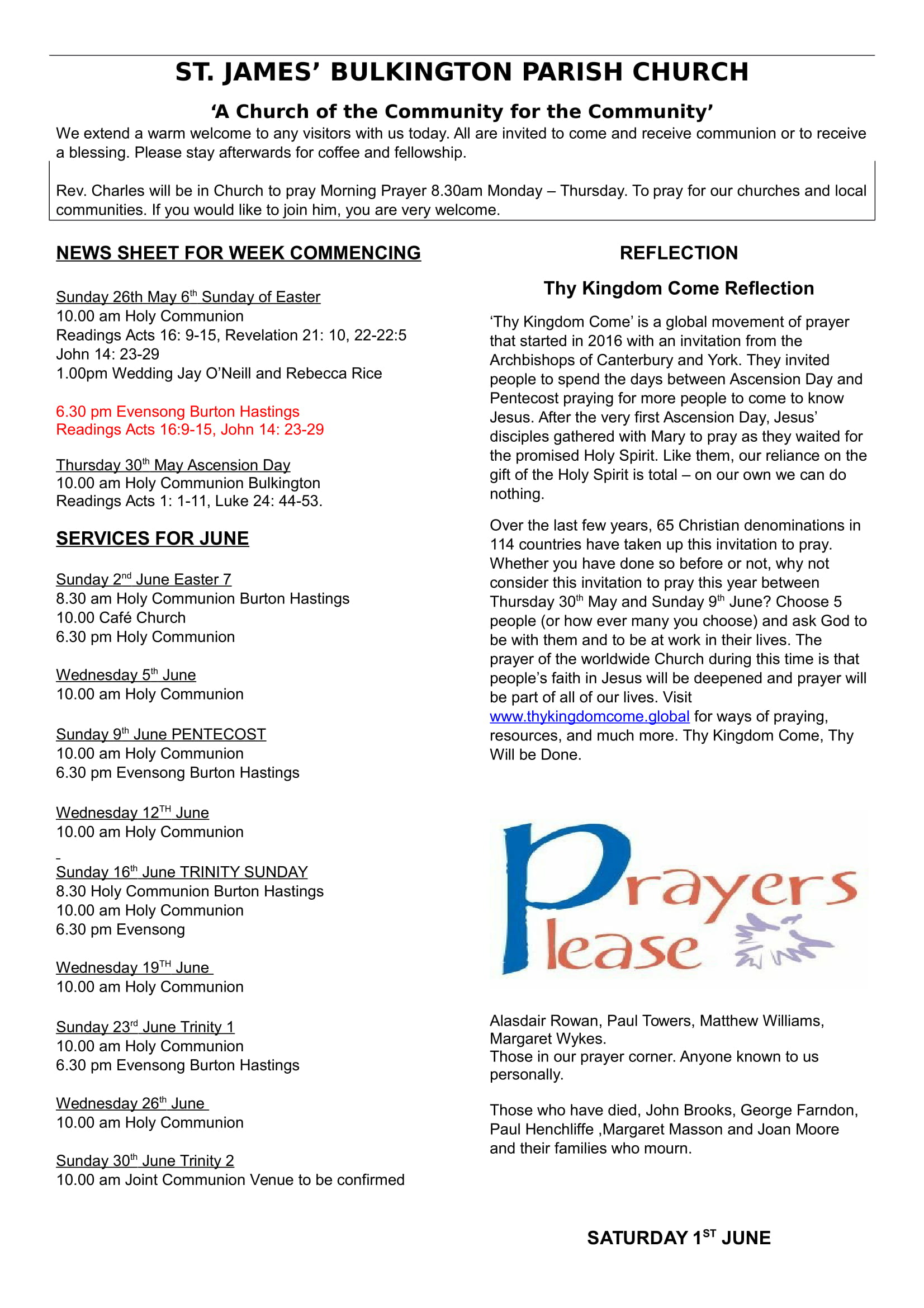 news sheet 26 May 1